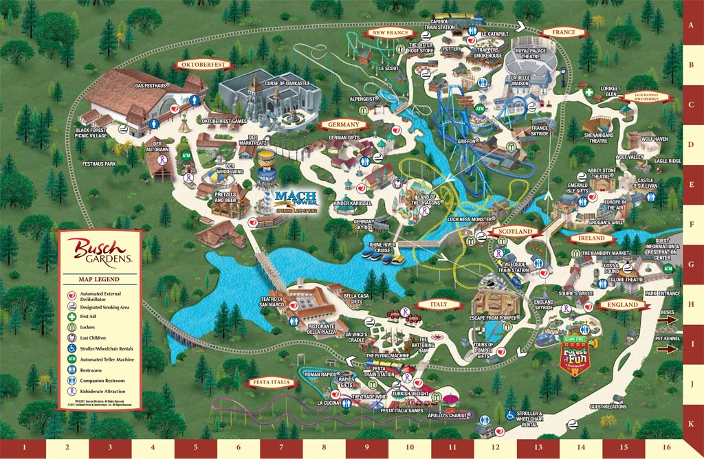 Busch Gardens Williamsburg park maps informations photos
